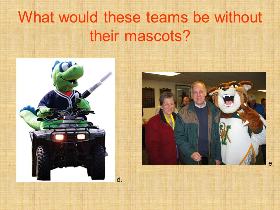What would these teams be without their mascots? d. e.