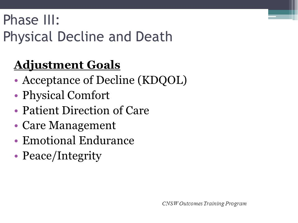 Phase III: Physical Decline and Death Adjustment Goals Acceptance of Decline (KDQOL) Physical Comfort Patient Direction of Care Care Management Emotional Endurance Peace/Integrity CNSW Outcomes Training Program