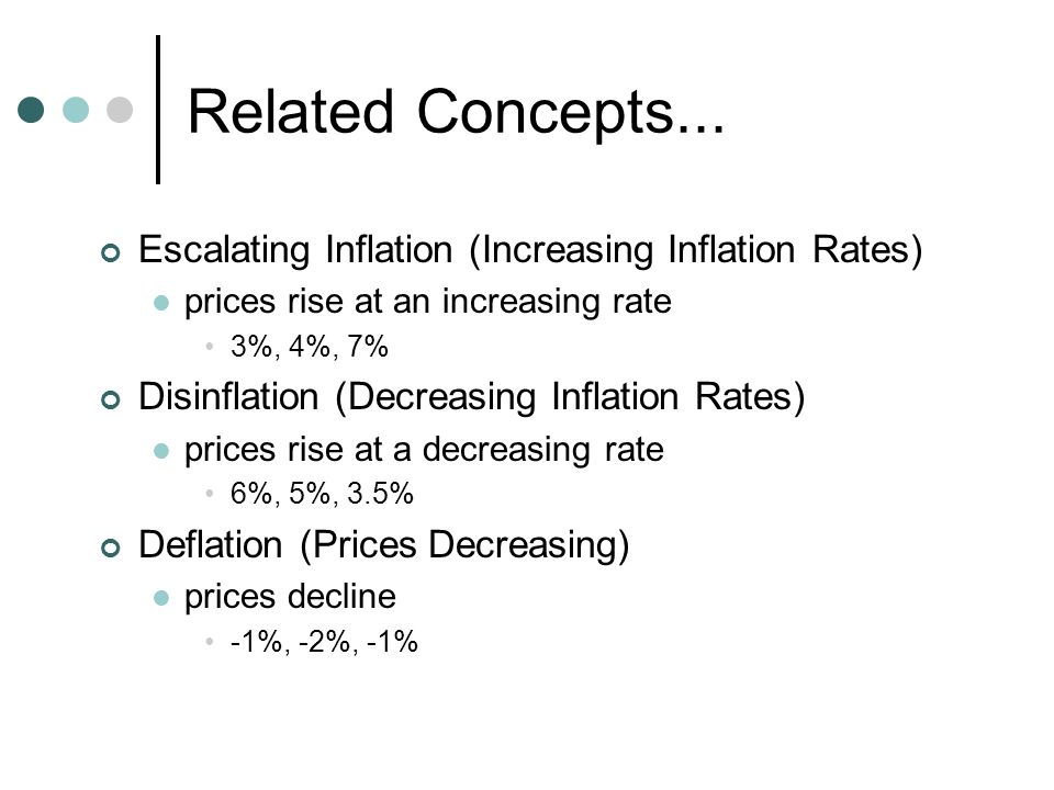 Related Concepts... Escalating Inflation (Increasing Inflation Rates) prices rise at an increasing rate 3%, 4%, 7% Disinflation (Decreasing Inflation