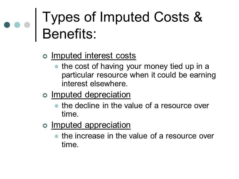 Example of imputed interest cost: Purchasing a new car using cash.