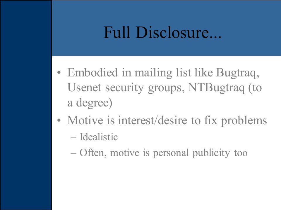 Full Disclosure...