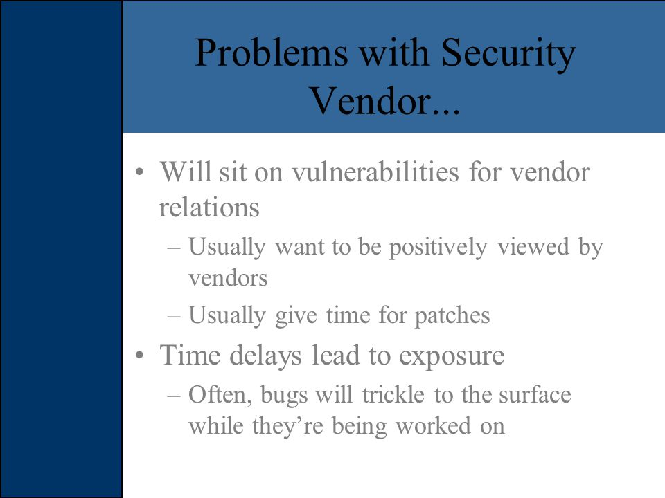 Problems with Security Vendor...
