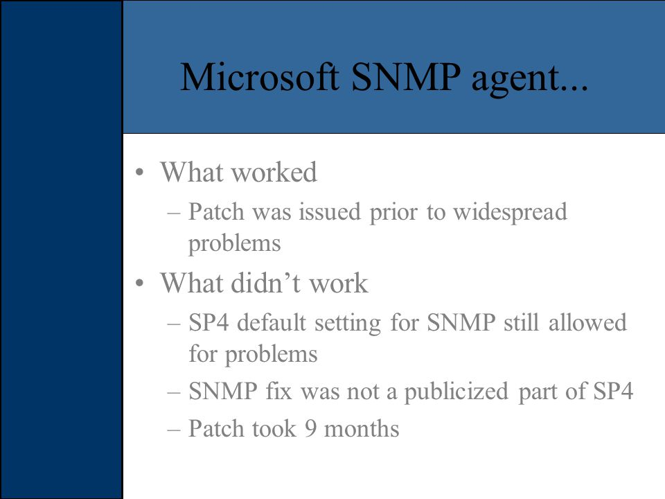 Microsoft SNMP agent...