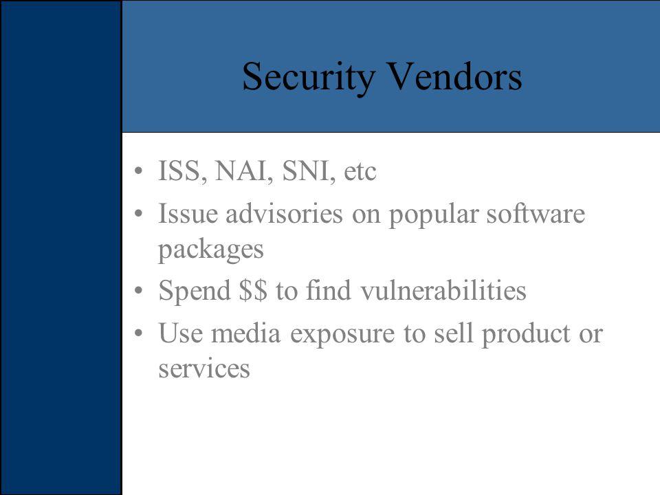 Case Studies... Full Disclosure –eEye IIS Vulnerability Response Teams –Various