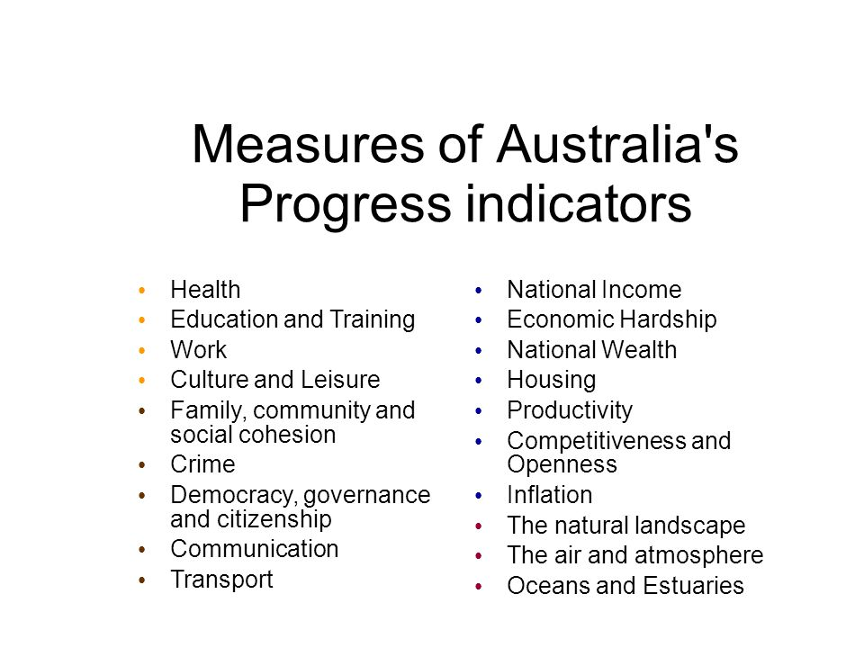 Measures of Australia s Progress indicators Health Education and Training Work Culture and Leisure Family, community and social cohesion Crime Democracy, governance and citizenship Communication Transport National Income Economic Hardship National Wealth Housing Productivity Competitiveness and Openness Inflation The natural landscape The air and atmosphere Oceans and Estuaries