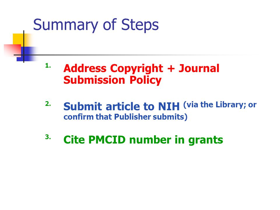 Summary of Steps 1.Address Copyright + Journal Submission Policy 2.Submit article to NIH (via the Library; or confirm that Publisher submits) 3.Cite PMCID number in grants