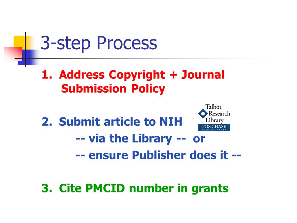 3-step Process 1. Address Copyright + Journal Submission Policy 2.