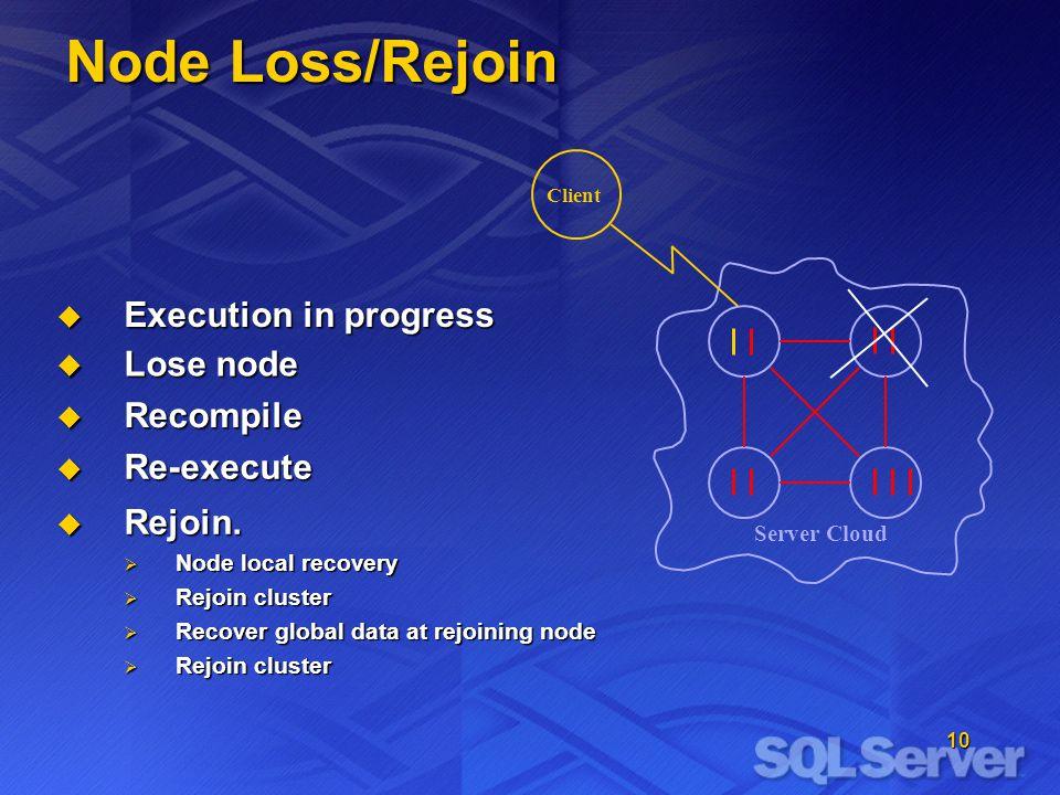 10 Client Node Loss/Rejoin Server Cloud  Execution in progress  Rejoin.