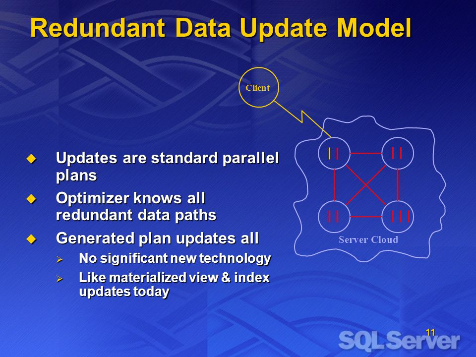 11 Client Redundant Data Update Model Server Cloud  Updates are standard parallel plans  Optimizer knows all redundant data paths  Generated plan updates all  No significant new technology  Like materialized view & index updates today