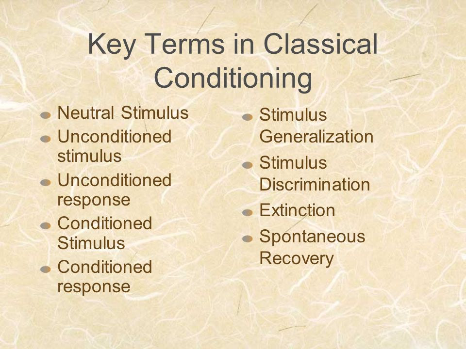 Key Terms in Classical Conditioning Neutral Stimulus Unconditioned stimulus Unconditioned response Conditioned Stimulus Conditioned response Stimulus Generalization Stimulus Discrimination Extinction Spontaneous Recovery