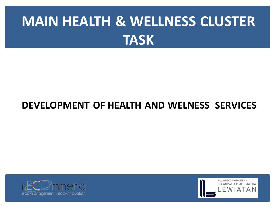 DEVELOPMENT OF HEALTH AND WELNESS SERVICES MAIN HEALTH & WELLNESS CLUSTER TASK