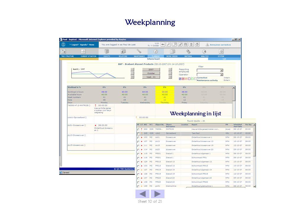 Weekplanning Sheet 10 of 21 Weekplanning in lijst