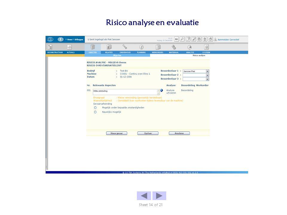 Risico analyse en evaluatie Sheet 14 of 21