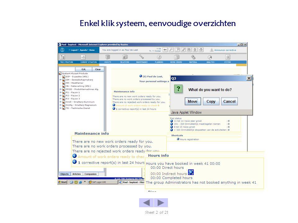 Enkel klik systeem, eenvoudige overzichten Sheet 2 of 21