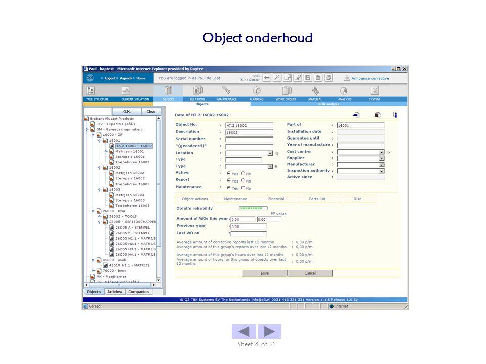 Object onderhoud Sheet 4 of 21