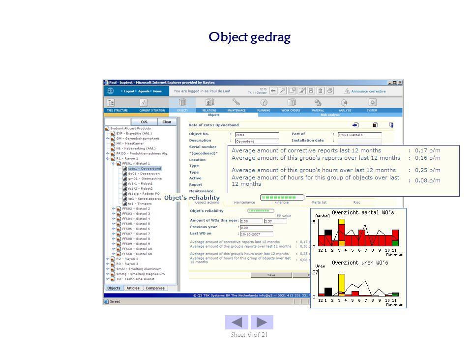 Object gedrag Sheet 6 of 21