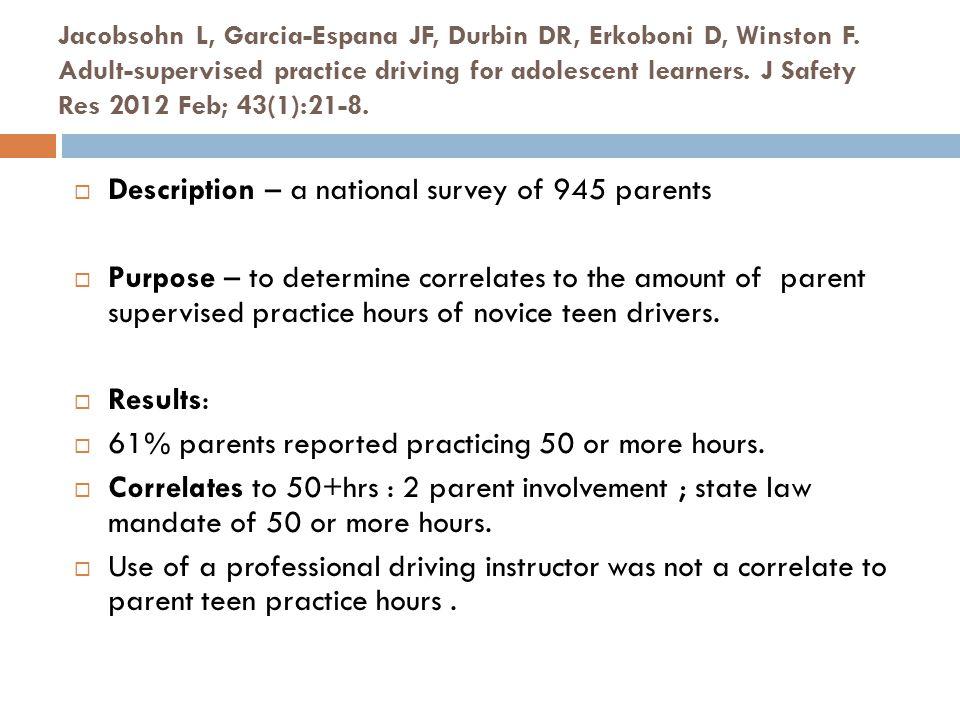 Jacobsohn L, Garcia-Espana JF, Durbin DR, Erkoboni D, Winston F. Adult-supervised practice driving for adolescent learners. J Safety Res 2012 Feb; 43(