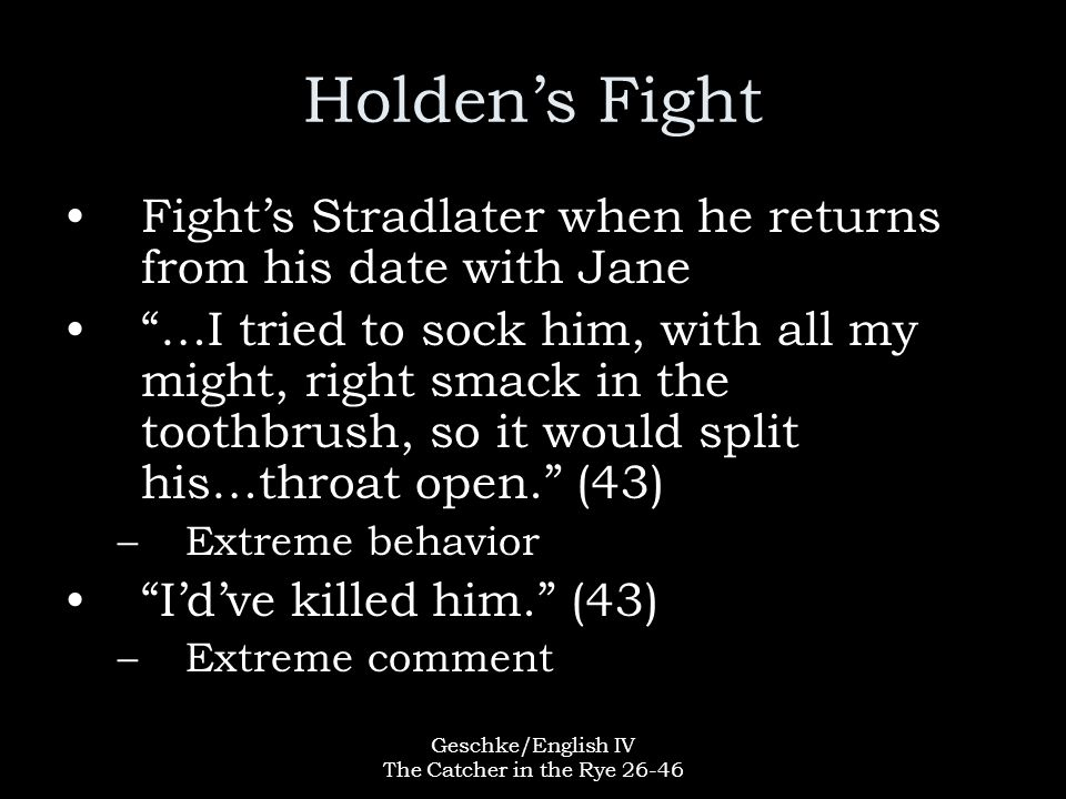 """Geschke/English IV The Catcher in the Rye 26-46 Holden's Fight Fight's Stradlater when he returns from his date with Jane """"…I tried to sock him, with"""