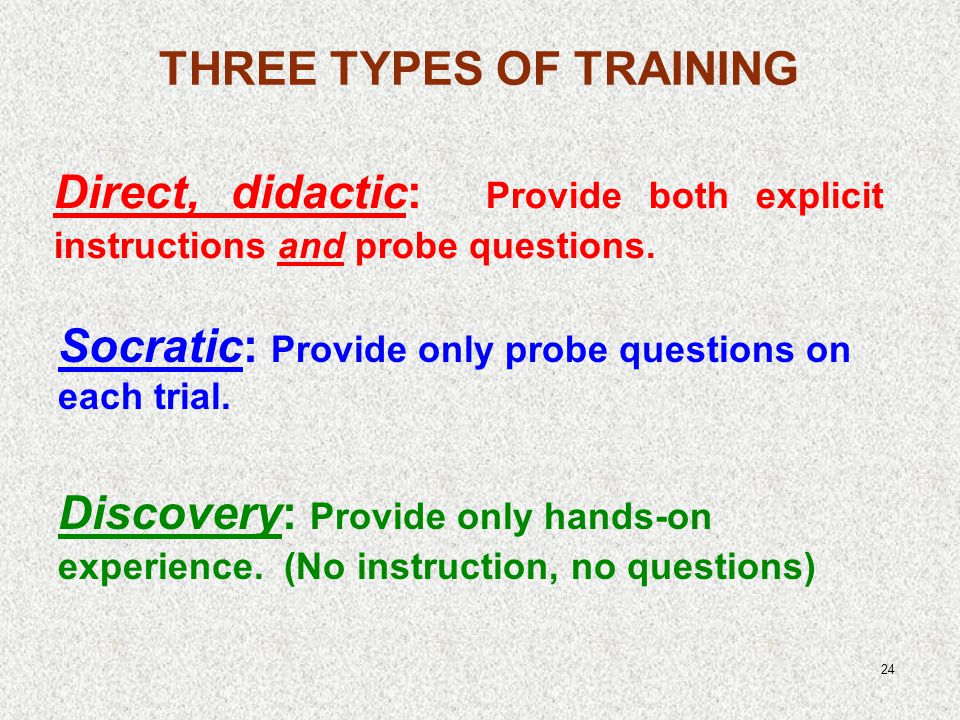 24 Direct, didactic: Provide both explicit instructions and probe questions.
