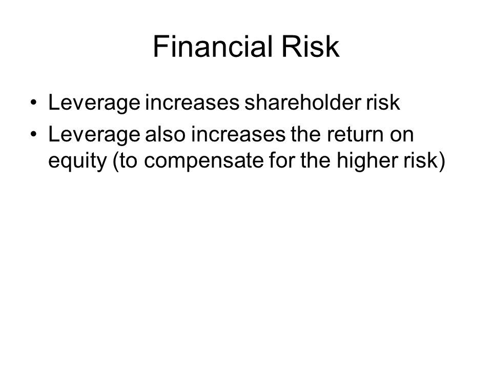 Financial Risk Leverage increases shareholder risk Leverage also increases the return on equity (to compensate for the higher risk)