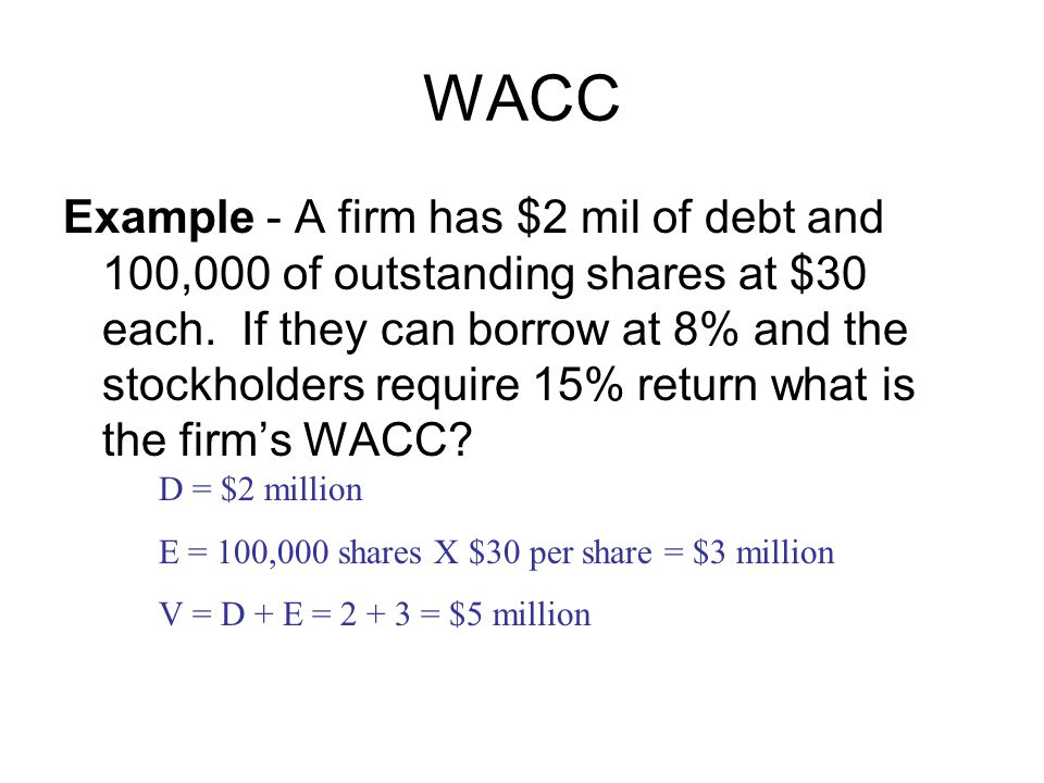 WACC Example - A firm has $2 mil of debt and 100,000 of outstanding shares at $30 each.