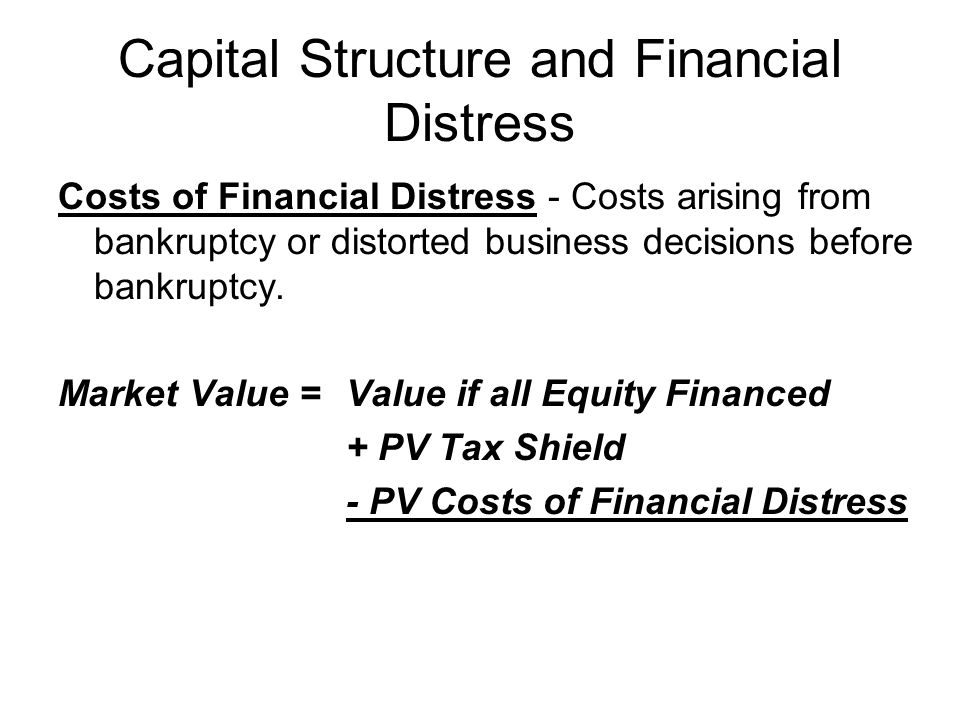 Capital Structure and Financial Distress Costs of Financial Distress - Costs arising from bankruptcy or distorted business decisions before bankruptcy.