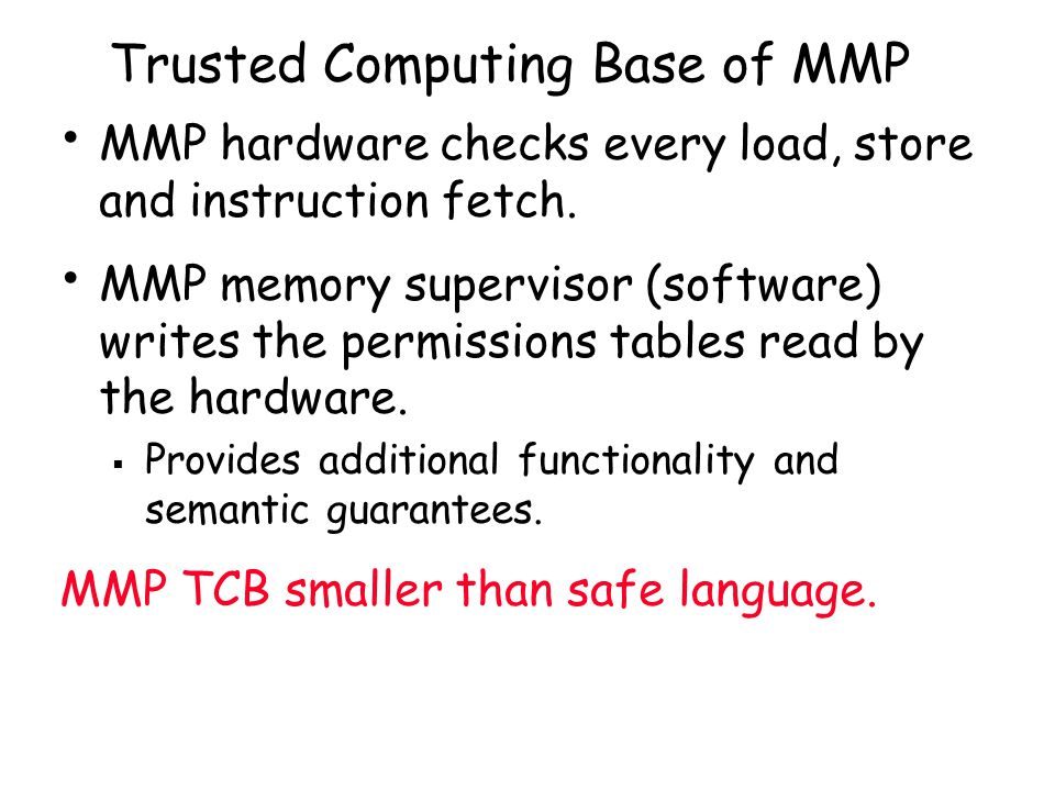 Trusted Computing Base of MMP MMP hardware checks every load, store and instruction fetch.