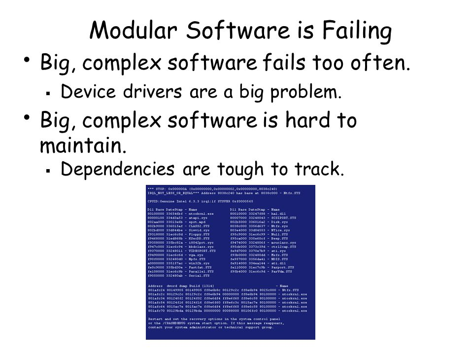 Modular Software is Failing Big, complex software fails too often.
