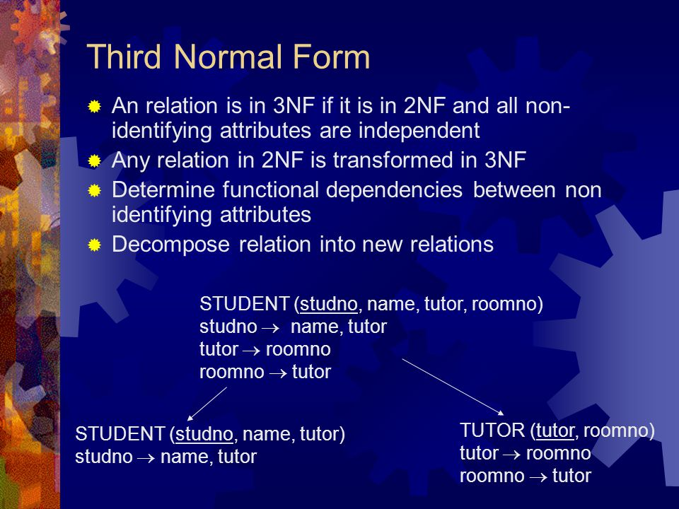 Third Normal Form  An relation is in 3NF if it is in 2NF and all non- identifying attributes are independent  Any relation in 2NF is transformed in