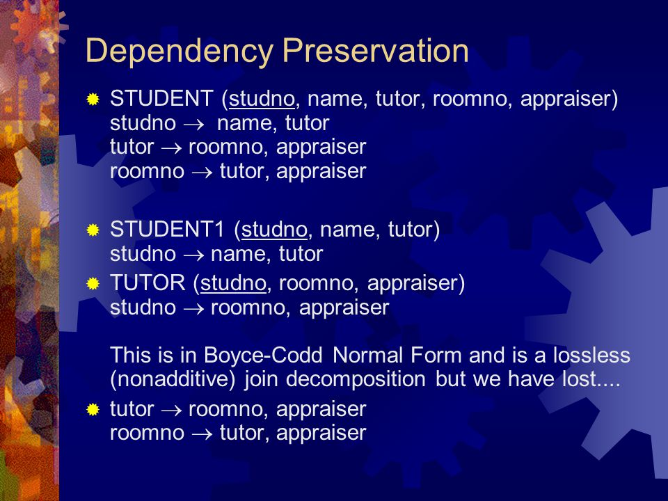 Dependency Preservation  STUDENT (studno, name, tutor, roomno, appraiser) studno  name, tutor tutor  roomno, appraiser roomno  tutor, appraiser  STUDENT1 (studno, name, tutor) studno  name, tutor  TUTOR (studno, roomno, appraiser) studno  roomno, appraiser This is in Boyce-Codd Normal Form and is a lossless (nonadditive) join decomposition but we have lost....