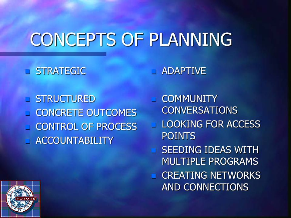 CONCEPTS OF PLANNING n STRATEGIC n STRUCTURED n CONCRETE OUTCOMES n CONTROL OF PROCESS n ACCOUNTABILITY n ADAPTIVE n COMMUNITY CONVERSATIONS n LOOKING