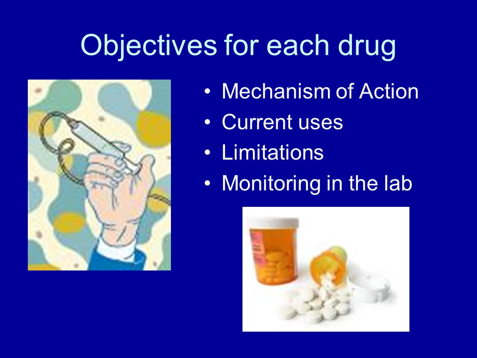 Objectives for each drug Mechanism of Action Current uses Limitations Monitoring in the lab
