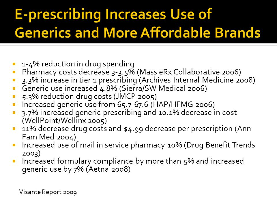 1-4% reduction in drug spending  Pharmacy costs decrease 3-3.5% (Mass eRx Collaborative 2006)  3.3% increase in tier 1 prescribing (Archives Inter