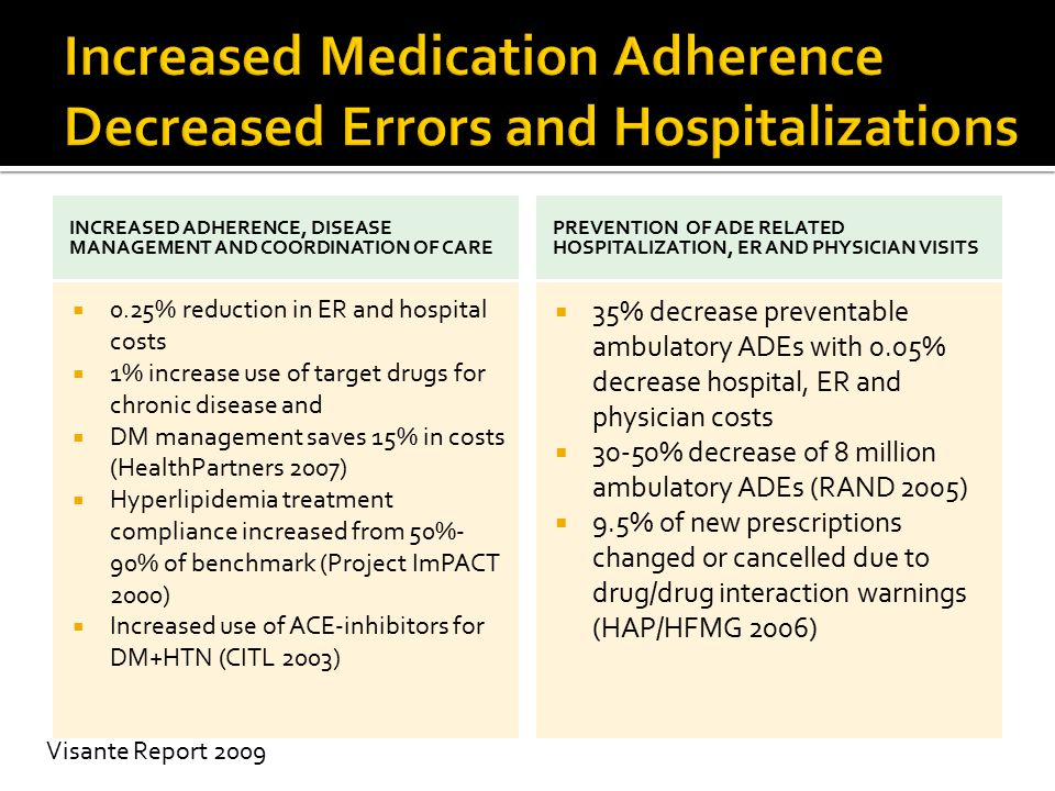 INCREASED ADHERENCE, DISEASE MANAGEMENT AND COORDINATION OF CARE  0.25% reduction in ER and hospital costs  1% increase use of target drugs for chro