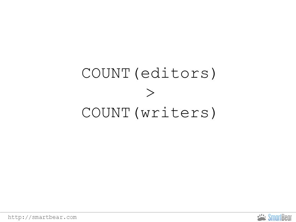 COUNT(editors) > COUNT(writers)