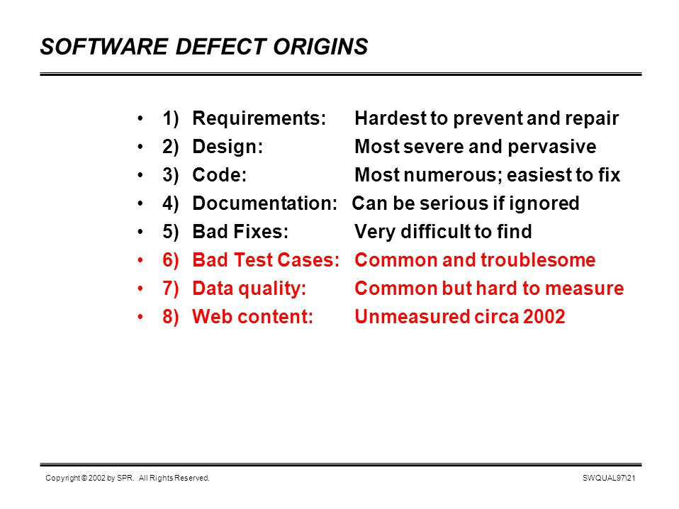 SWQUAL97\21 Copyright © 2002 by SPR. All Rights Reserved. SOFTWARE DEFECT ORIGINS 1)Requirements: Hardest to prevent and repair 2)Design: Most severe