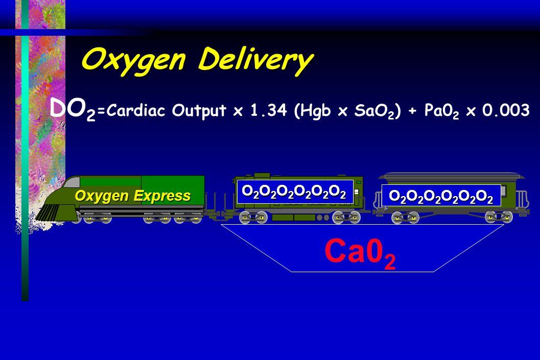 Oxygen Delivery DO 2 =Cardiac Output x 1.34 (Hgb x SaO 2 ) + Pa0 2 x 0.003 O2O2O2O2O2O2O2O2O2O2O2O2O2O2O2O2O2O2O2O2O2O2O2O2 O2O2O2O2O2O2O2O2O2O2O2O2O2O2O2O2O2O2O2O2O2O2O2O2 Oxygen Express Ca0 2