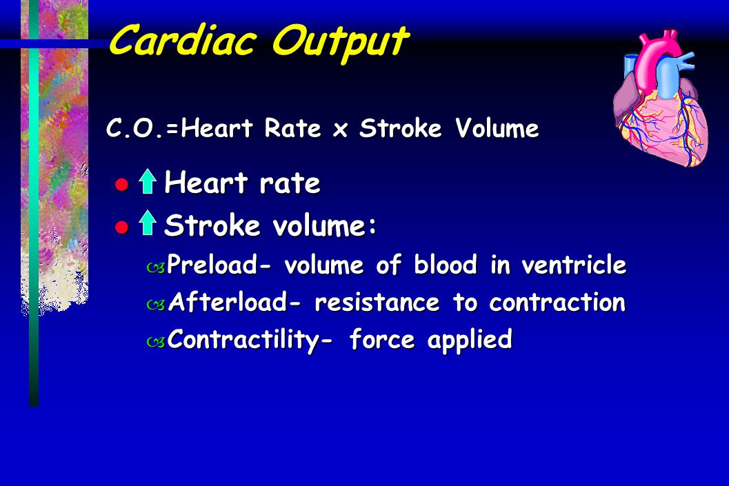 Cardiac Output C.O.=Heart Rate x Stroke Volume l Heart rate l Stroke volume: – Preload- volume of blood in ventricle – Afterload- resistance to contra