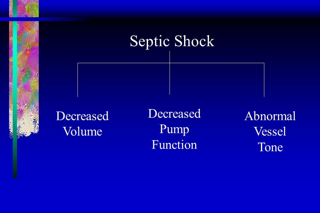 Septic Shock Decreased Volume Decreased Pump Function Abnormal Vessel Tone