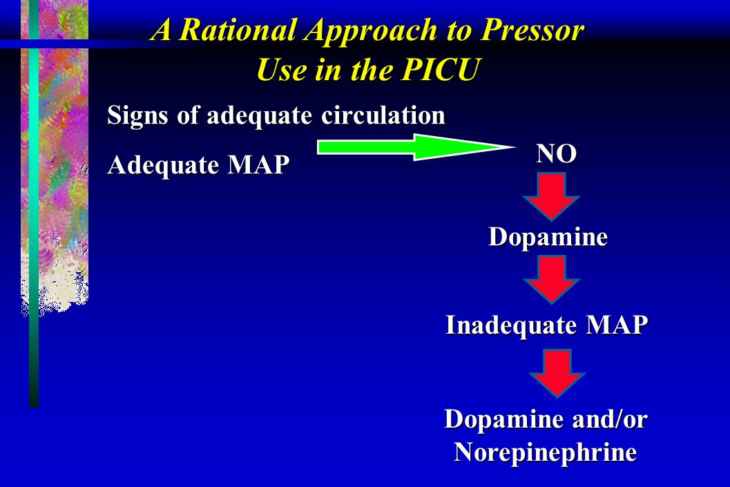 A Rational Approach to Pressor Use in the PICU NO Dopamine Inadequate MAP Dopamine and/or Norepinephrine Signs of adequate circulation Adequate MAP