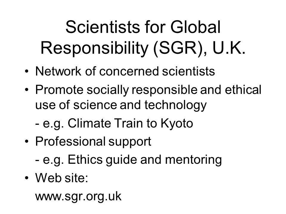 Scientists for Global Responsibility (SGR), U.K.