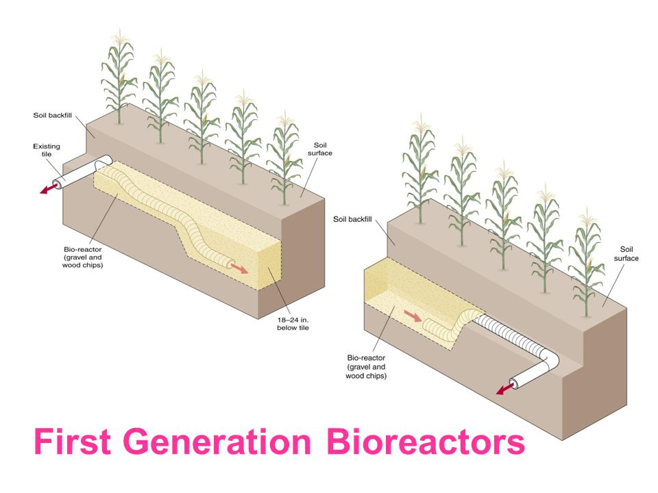 Capacity Control Structure 5' Soil Backfill Woodchips Trench bottom 1' Below tile invert Section of perforated tile Length/width dependent on contributing area Diversion Structure Second Generation Bioreactors