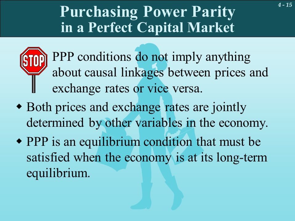 4 - 15 Purchasing Power Parity in a Perfect Capital Market PPP conditions do not imply anything about causal linkages between prices and exchange rate