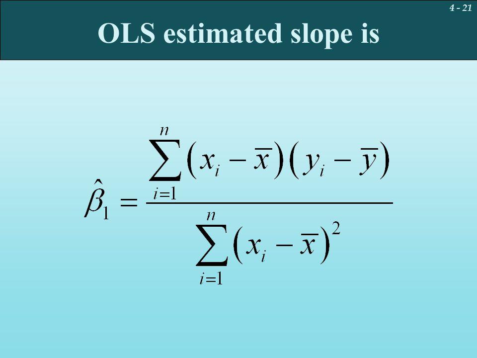 4 - 21 OLS estimated slope is