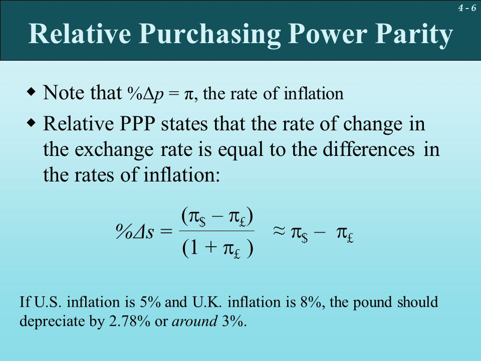 4 - 27 Empirical Evidence on Prices and Exchange Rates  To examine the relative PPP condition, we can compare the exchange rate change to the contemporaneous inflation differential: Δs t =  0 +  1 (Δp $ – Δp DM ) t + u t  It seems that PPP is a poor explanation of exchange-rate changes on a period-by-period basis.