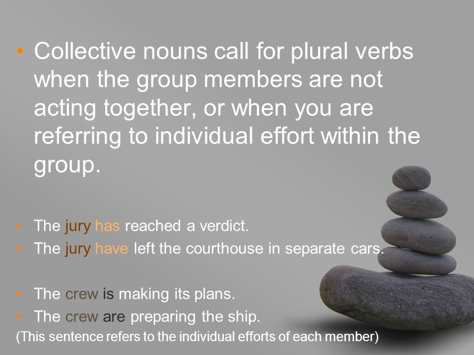 Collective nouns call for plural verbs when the group members are not acting together, or when you are referring to individual effort within the group.
