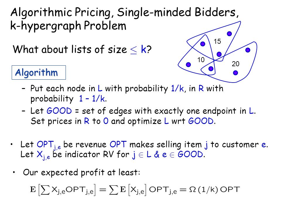 Algorithmic Pricing, Single-minded Bidders, k-hypergraph Problem What about lists of size · k.