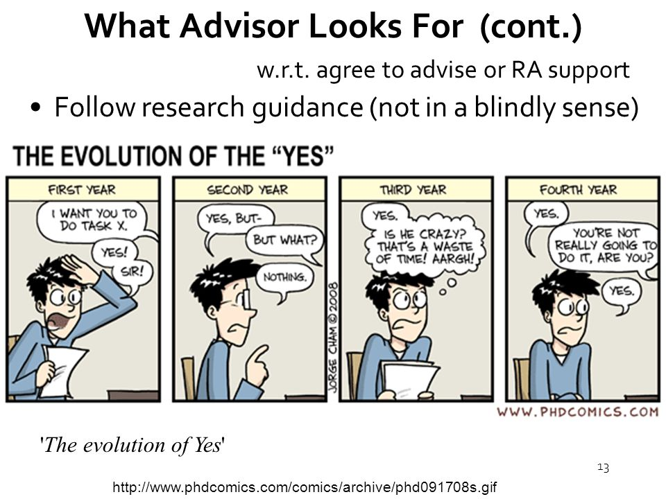 13 What Advisor Looks For (cont.) Follow research guidance (not in a blindly sense) w.r.t.