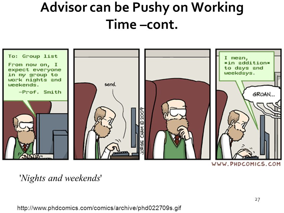 27 Advisor can be Pushy on Working Time –cont.