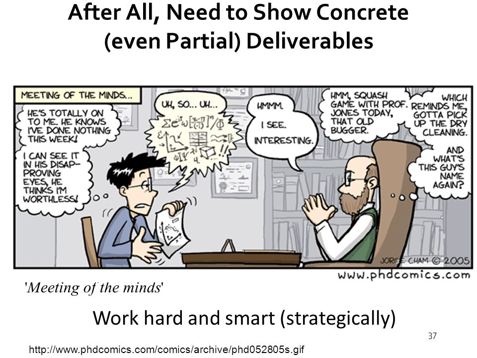 37 After All, Need to Show Concrete (even Partial) Deliverables http://www.phdcomics.com/comics/archive/phd052805s.gif Meeting of the minds Work hard and smart (strategically)